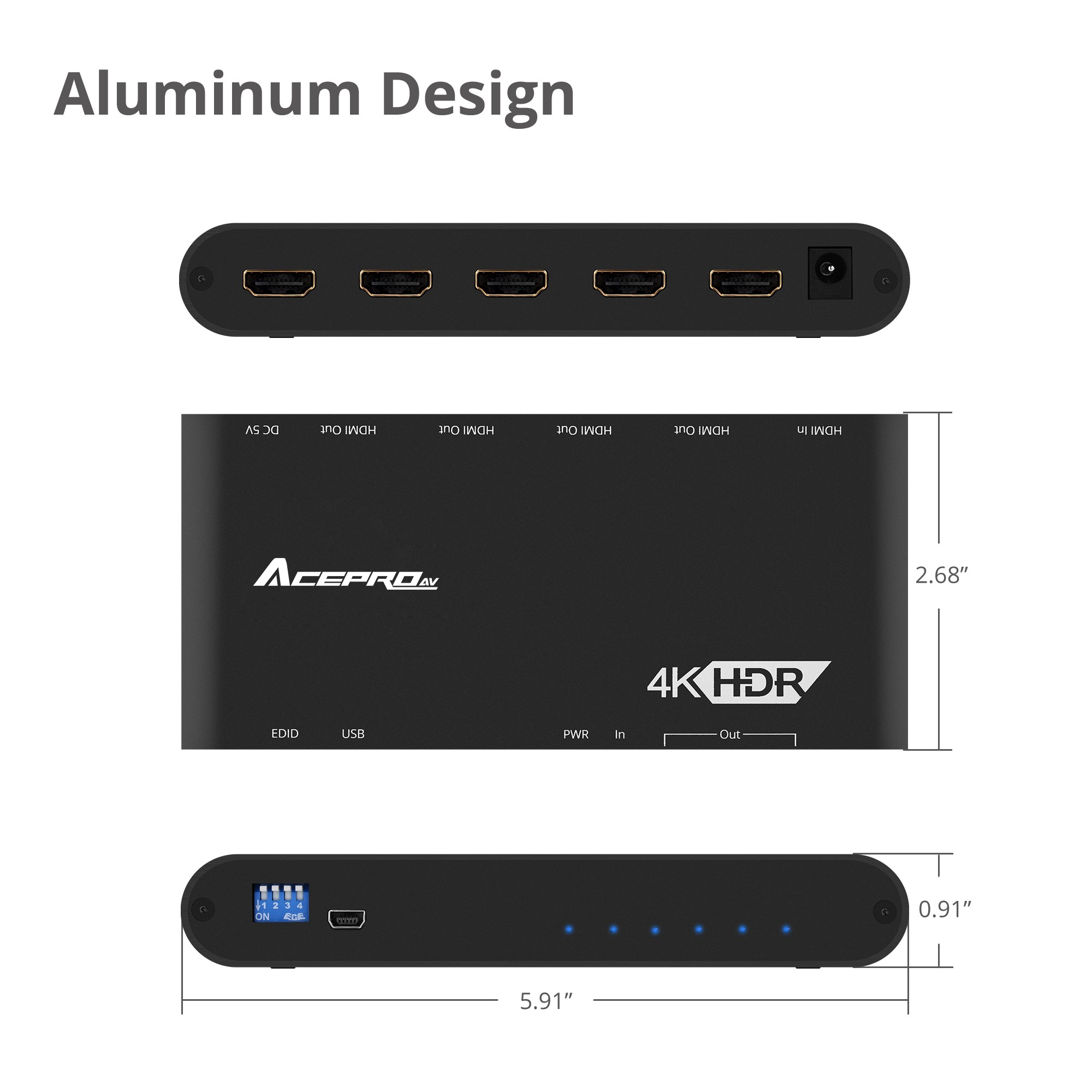 AcePro 4-Port HDMI 2 0 Splitter with EDID Management - 4Kx2K 60Hz